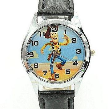 "Toys Story's "" Woody , Woody the Sheriff"" on a Girls / Boys Black Leather Wrist Watch"