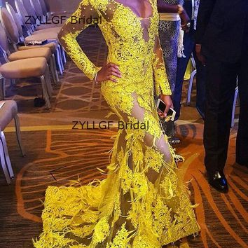 ZYLLGF Sexy See Through Bridesmaid Dresses Appliques Long Sleeved Dress For Bridesmaid Women 2018 With Feathers SA346