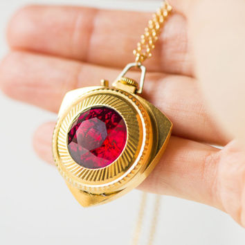 Triangle women's watch pendant Zaria – gold plated lady's watch 70s - posh woman pendant watch – red rubies ornament watch - necklace watch