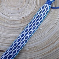 Woven blue white friendship bracelet card weaving tribal colorful wrist band, weave bogho jewelry, wrist sash handmade hipster hippie unisex