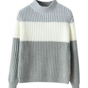 Fashionable Contrast Color Split Joint Half High-necked Sweater