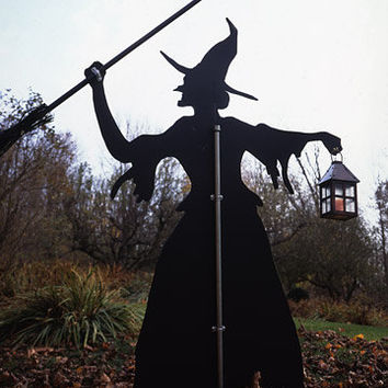 Witch Lawn Ornament hand crafted wood silhouettes 5ft