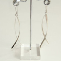 Womens Sterling Silver Double Twist Dangle Earrings,Statement Mi
