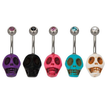 316L, Gem, Skull, Belly Rings, Aqua; sold individually
