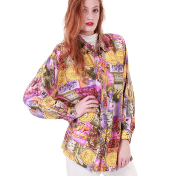 80s Vintage Silk Circus Print Blouse Jones Bros.& Wilsons Pastel Pink Yellow Novelty Medusa Oversized Retro Shirt 90s Women Size Large