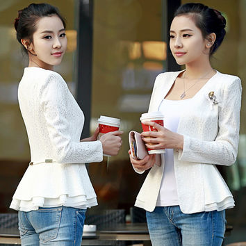 women blazers 2016 spring and autumn slim small white suit jacket thin plus size women clothing lace blazer suit