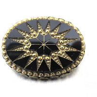 Victorian Revival Brooch, Jet Black Glass Carved Gold Aurum Starburst Oval Shaped Pin, 1950's Vintage Victorian Revival Jewelry