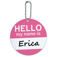 Erica Hello My Name Is Round ID Card Luggage Tag