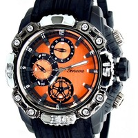 Orange Black Mens Geneva Watch (Invicta Style) W/ Diesel Cologne