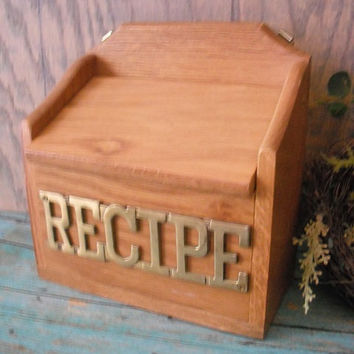 vintage Wood and Brass RECIPE box with original inserts cards