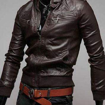 PU Leather Jacket With Stand Collar