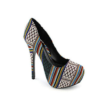 Chic Multicoloured Aztec Tribal Print Closed Toe Pumps