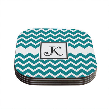 "KESS Original ""Monogram Chevron Teal"" Coasters (Set of 4)"