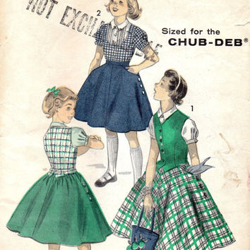 1950s Sewing Pattern Advance 7742 School Girl Dress Full Skirt Vest Weskit Blouse Bust 33 Rockabilly Style
