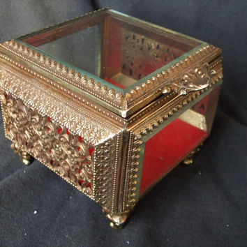 Vintage Hollywood Regency Style Beveled Glass Jewelry Casket , Vintage Metal and Glass Trinket Box