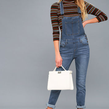 Come Into Bloom Medium Wash Denim Overalls