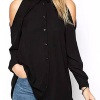 Black Cold Shoulder Lapel Chiffon Shirt