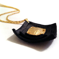 Elegant square leather necklace.