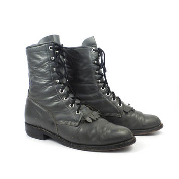 Roper Boots Vintage 1980s Gray Leather Granny Lace up Packer Justin Women's size 7 C