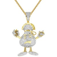 Custom Drink Character Dollar Bills Iced Out Pendant Chain