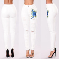 Fashionable Hole Embroidered Stretch White Jeans