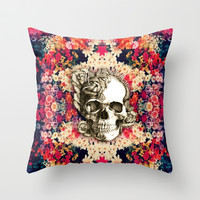 You are not here Day of the Dead Rose Skull. Throw Pillow by Kristy Patterson Design