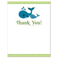 Whale baby shower thank you card | Lime green and blue | Flat note card, A2
