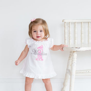 First Birthday Outfit Girl Baby Girl 1st Birthday Outfit 1st Birthday Girl Outfit Pink Damask Cake Smash Outfit Personalized Birthday Dress