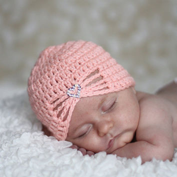 Baby Girls Newborn Hat-Newborn Hospital Hat-Baby Girls Crochet Heart Bonnet-New Baby Gift