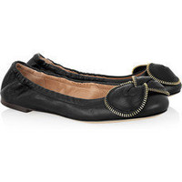 See by Chlo?|Zip-trimmed bow leather ballerina flats|NET-A-PORTER.COM