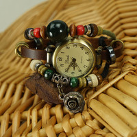 Leather Wrap Around Beaded Bracelet Watch with Rose Charm