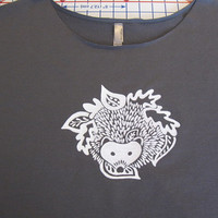 SALE - Hedgehog and Leaves Dolman Sleeve Raw Edge T Shirt