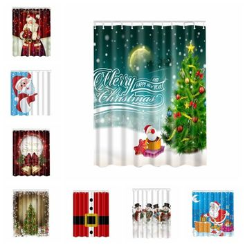 New Pop Christmas Funny Polyester Shower Curtain 3D High-definition Digital Witch Pumpkin Printing Curtain For Bathroom