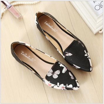Printing pointed toe loafers women flat heel shoes casual shoe woman