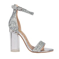 Silver Glitter Single Sole Clear Heel