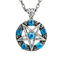 Inverted Pentagram Ritual Necklace with Turquoise Stones