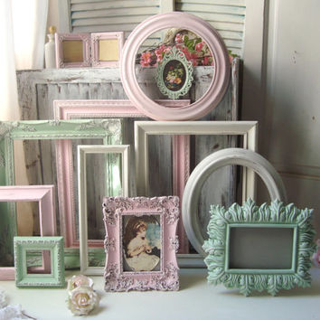 Pink and Mint Nursery Frame Set, Antique White, Baby Pink and Mint Green Vintage Open Frame Gallery, Cottage Chic Ornate Frame Set of 12
