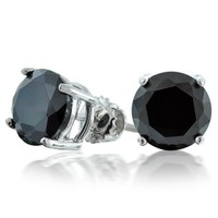 Bling Jewelry Round Black CZ Screw Back Posts Stud Earrings 925 Silver