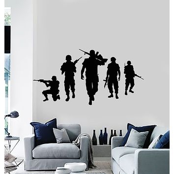 Vinyl Wall Decal Military Wartime War Silhouette American Soldiers Stickers Mural (g513)