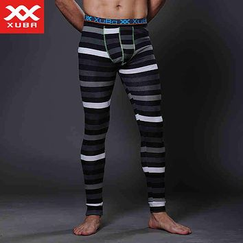 Fashion Zebra Mens Thermal Underwear Winter Tight Men Long Johns Cotton Stripes Long Johns Brand XUBA Sexy Long John Thermals