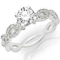 0.85 Carat Eternity Love Twisting Split Shank Diamond Engagement Ring with a Round Brilliant Cut / Shape 0.6 Carat H-I Color I1 Center Stone and 0.25 Carats of Side Diamonds: Jewelry: Amazon.com