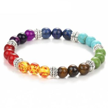 Hot Sale Chakra Bracelets Bangle Colors Mixed Healing Crystals Stone Energy