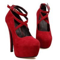 Sexy Fashion Womens Platform Pumps Strappy Buckle Stiletto High Heels Shoes:Amazon:Shoes