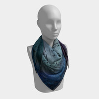 Sheet Music Scarf - Beautiful blue and purple square or oblong scarf notes, music gift, musician, scarves, lady's chiffon matte or charmeuse