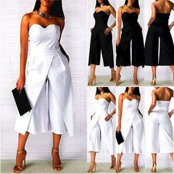 ONETOW Office Ladies Formal Outfits Women Clubwear Strapless Playsuit Bodycon Party Jumpsuit S M L XL XXL