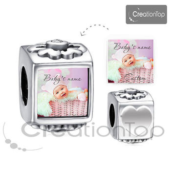 Personalized charm for any Pandora bracelet Memory charm Baby's name custom It's a girl