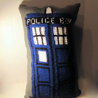 Crochet Tardis Pillow - Doctor Who - Blue and Gray - Tunisian Crochet