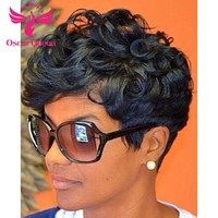 6inch Short Wave Lace Front Human Hair Wigs Indian Remy Hair Short Wig For Black Women Color #1B Machine Made No Lace Wig