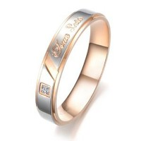 "JewelryWe Stainless Steel Black & Silver Tone ""True Love"" Engraved Mens Rings for Wedding/Engagement/Promise/Eternity (Size 9)"
