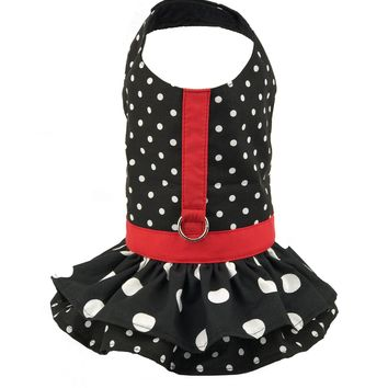 Black Polka Dot Ruffled Dog Vest Harness